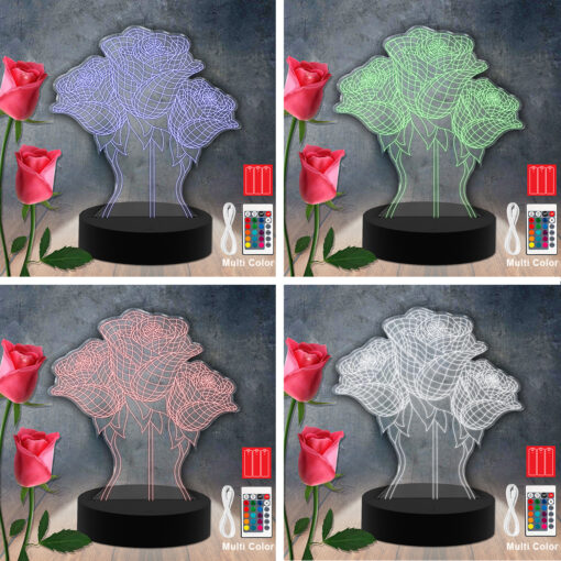 Flower RGB  Led Acrylic Light Lamp Color Laser Cut
