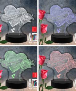 Flower Heart RGB Led Acrylic Light Lamp Color Laser Cut