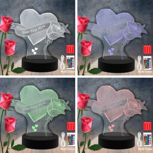Fleur / Coeur RGB LED lampe acrylique découpée au laser