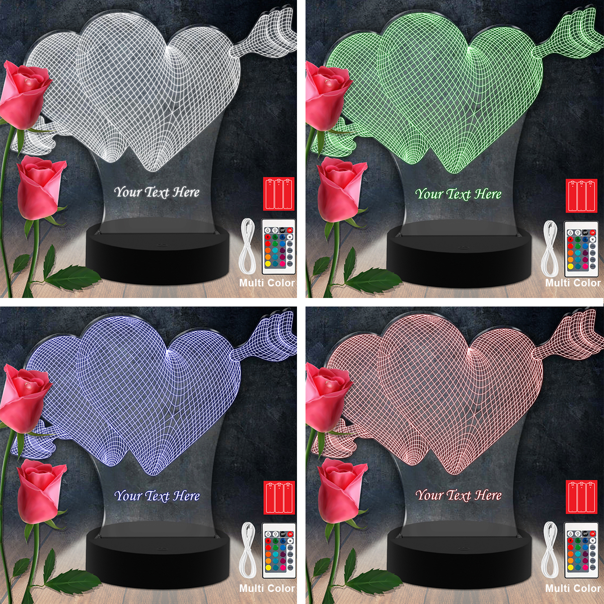 For Ever Heart RGB Led Acrylic Light Lamp Color Laser Cut