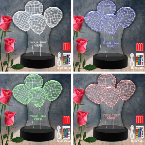 Balloon Flower RGB Led Acrylic Light Lamp Color Laser Cut