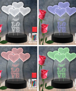 Love Hearts RGB Led Acrylic Light Lamp Color Laser Cut