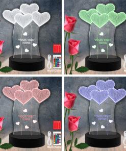 Hearts RGB Led Acrylic Light Lamp Color Laser Cut