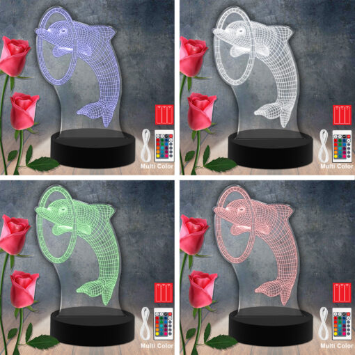 Dolphin Animal RGB Led Acrylic Light Lamp Color Laser Cut