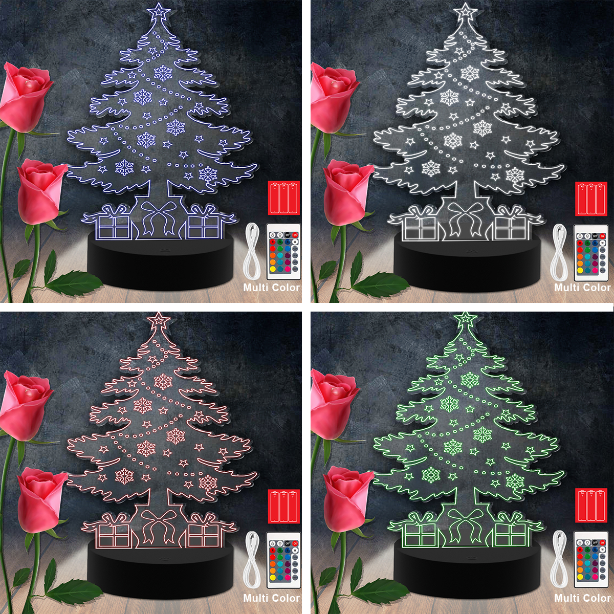 Christmas Tree RGB Led Acrylic Light Lamp Color Laser Cut