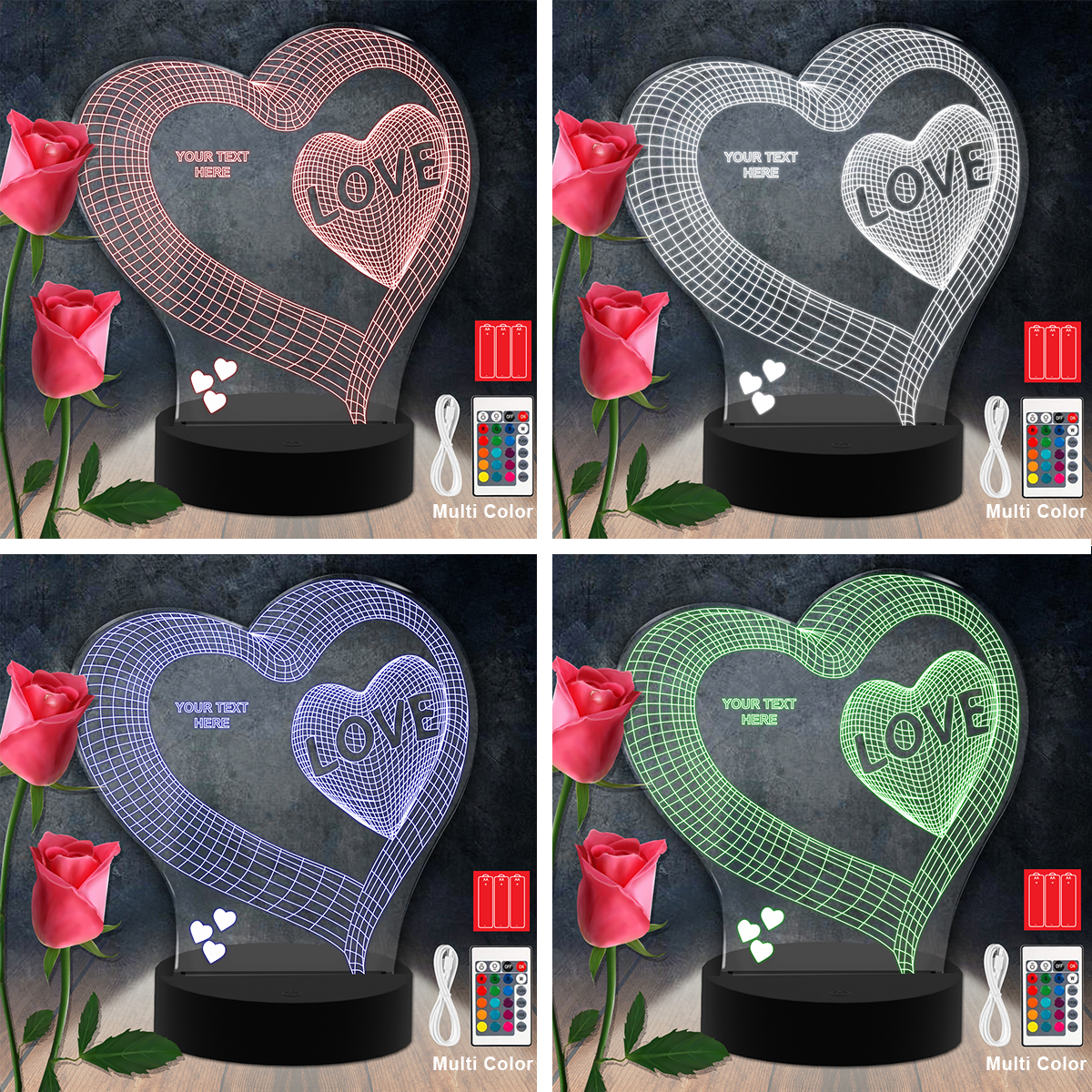Love Heart RGB Led Acrylic Light Lamp Color Laser Cut