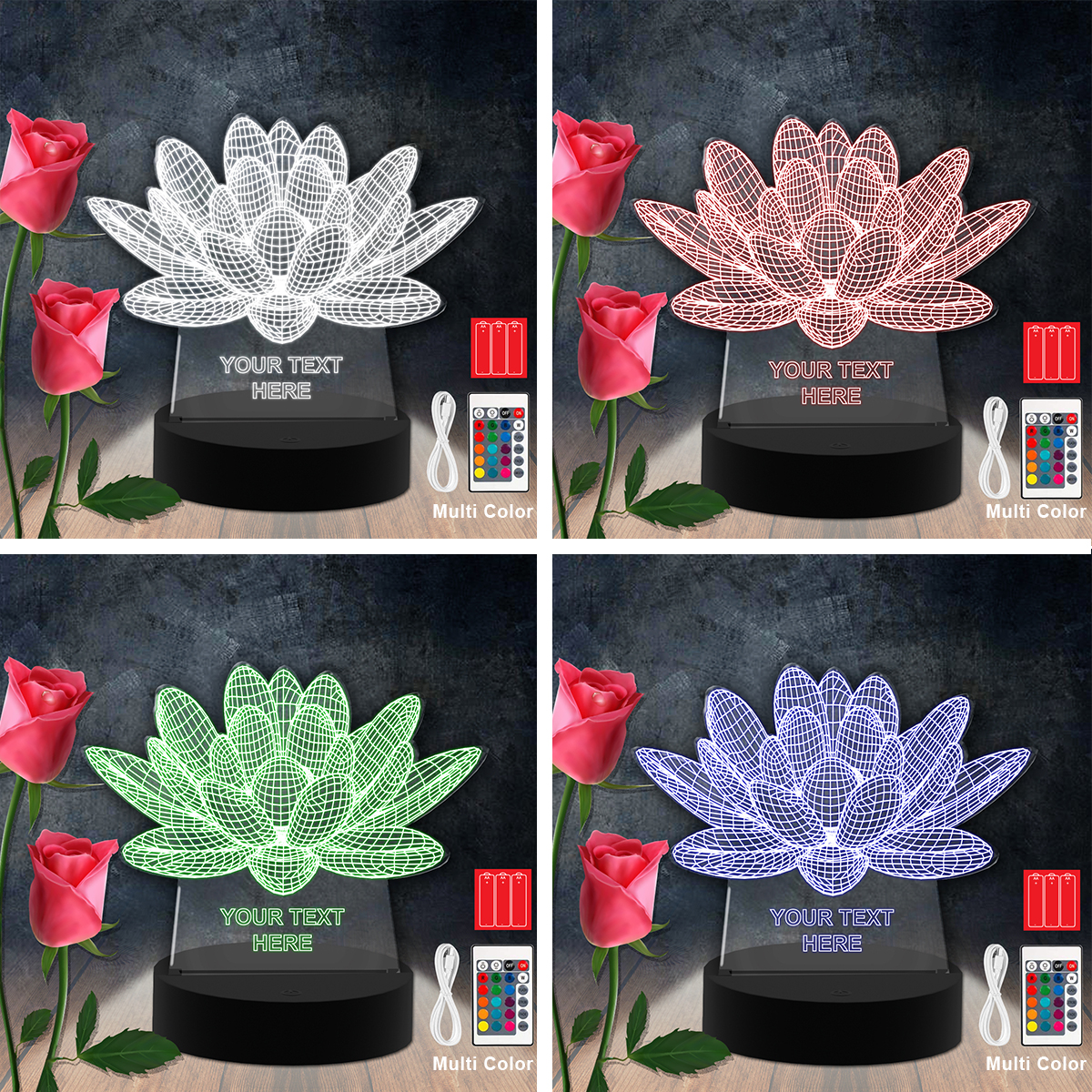 Flower RGB Led Acrylic Light Lamp Color Laser Cut