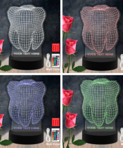 Lampe LED 3D Personnalisées en Acrylique - Dent Laser Cut
