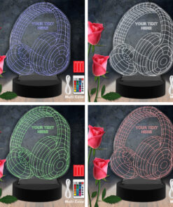 Lampe LED 3D Personnalisées en Acrylique - Casque Color Laser Cut