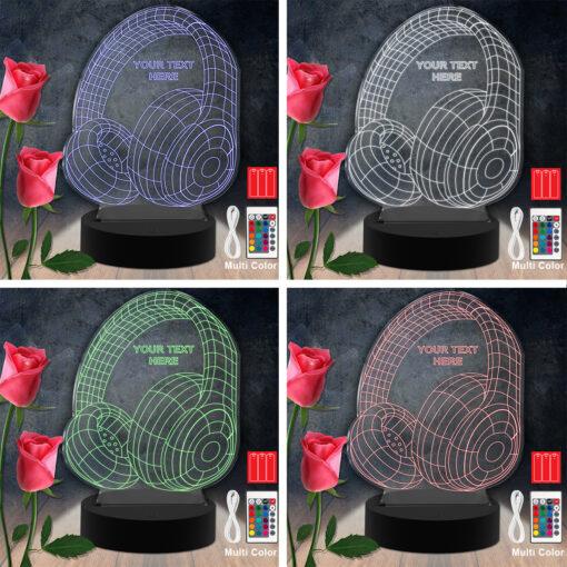 Headphones RGB Led Acrylic Light Lamp Color Laser Cut