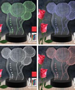 Lampe LED 3D Personnalisées en Acrylique - Ballon Sourire Color Laser Cut