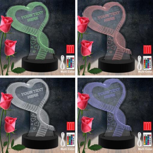 Heart RGB Led Acrylic Light Lamp Color Laser Cut