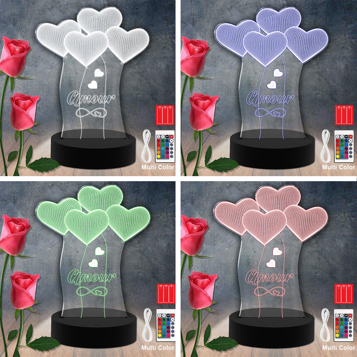 Amour Love Heart RGB Led Acrylic Light Lamp Color Laser Cut
