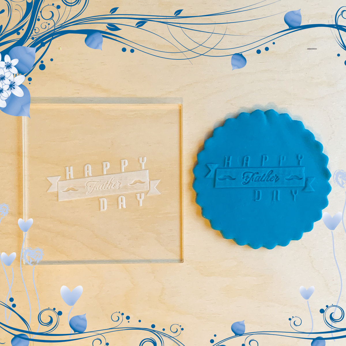 Acrylic Outbosser Embosser cookies stamps for sugar paste cupcakes Father Day